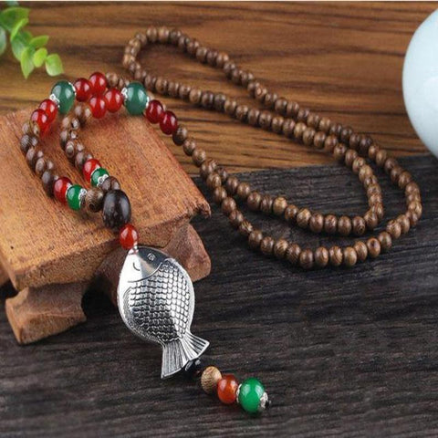 Ethnic Buddhist Fish Necklace