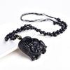 Image of Black Obsidian Elephant Necklace