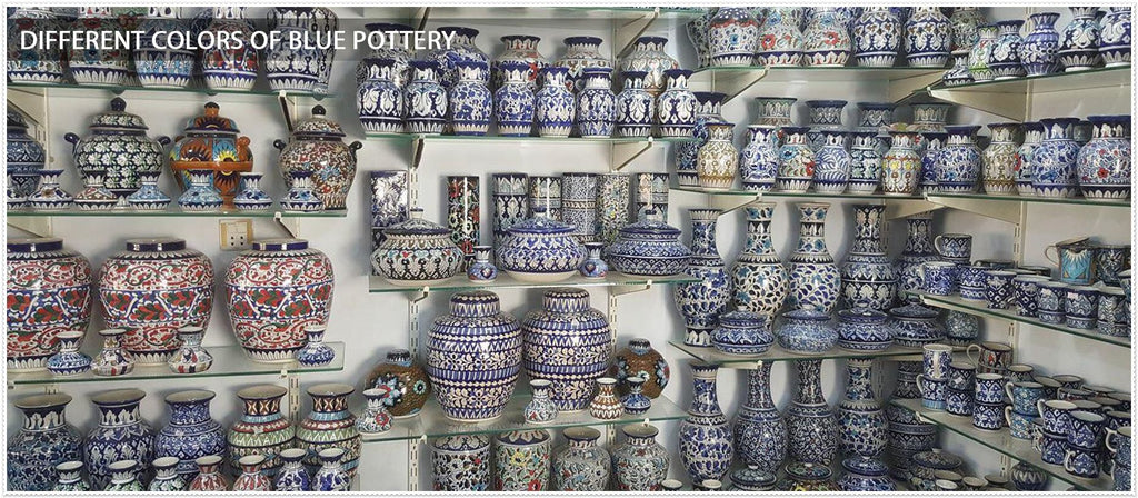 different colours of blue pottery