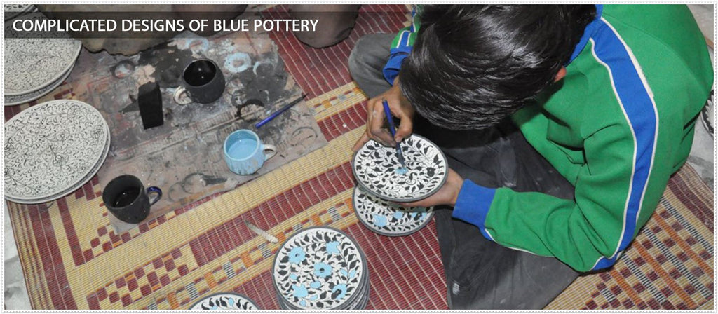 complicated designs of blue pottery