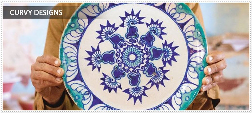 blue pottery curvy designs