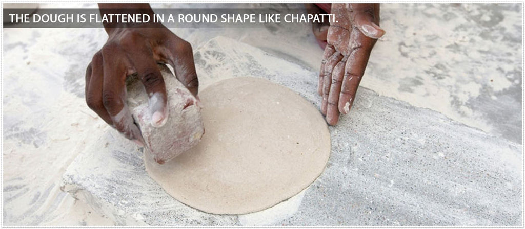 the dough is flattened in a round shape like chapatti