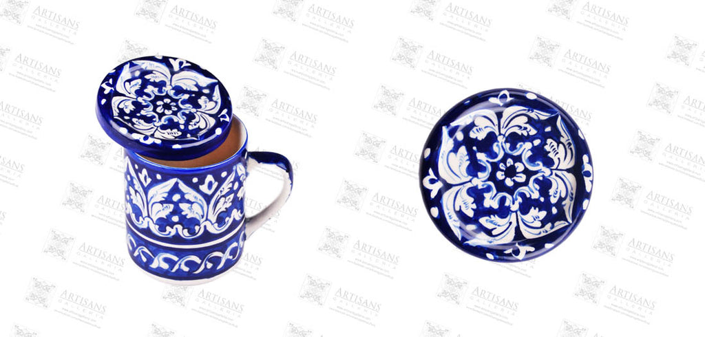 Benita david shows blue pottery avena gori mug