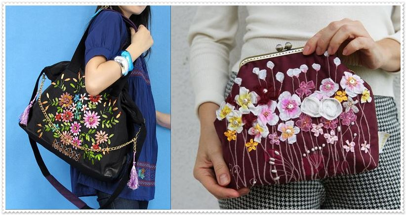 Ribbon Embroidery Bag