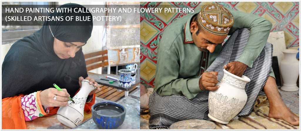 hand paiting with calligraphy and flowery patterns- Skilled artisans of blue pottery