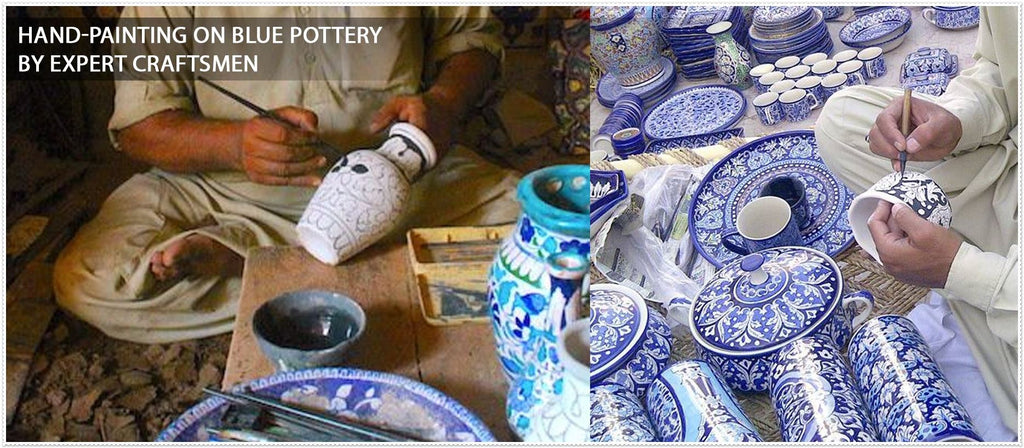 Hand Painting on blue pottery