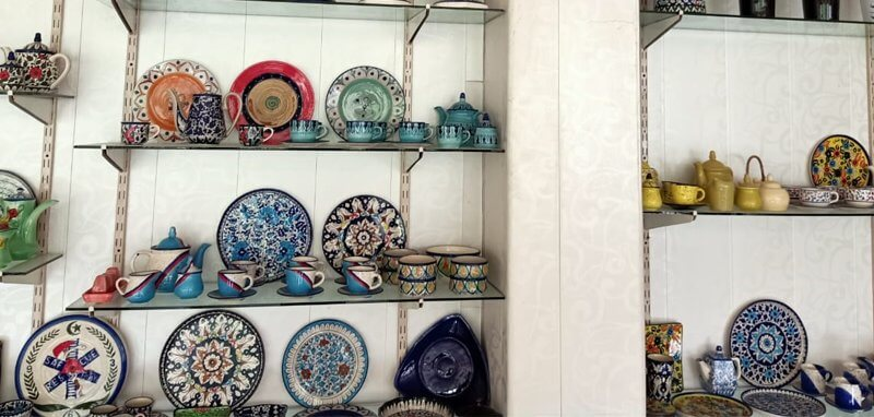 Handmade blue pottery products
