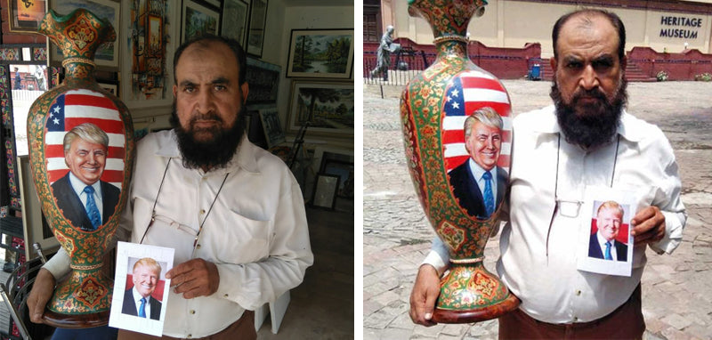 Hanifullah Khan Camel Skin Artist makes Trump Portrait - Artisans Galleria