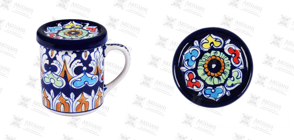 Blue Pottery Mug Vinca Colorful
