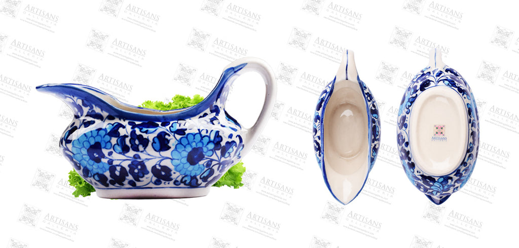 Blue Pottery Raita Pot Angoori Design