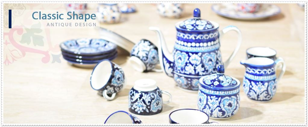 Blue pottery antique tea set hand painted