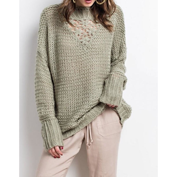 Zeer Crochet Flower Oversized Knit Sweater &AG54