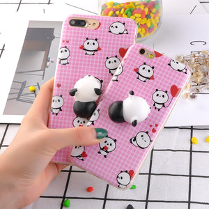 3D Cartoon Cute Soft Silicone Squishy Panda Cat Fundas Cover Case for iPhone 6 6S 7 Plus Phone Cases Coque Stress relief Shell