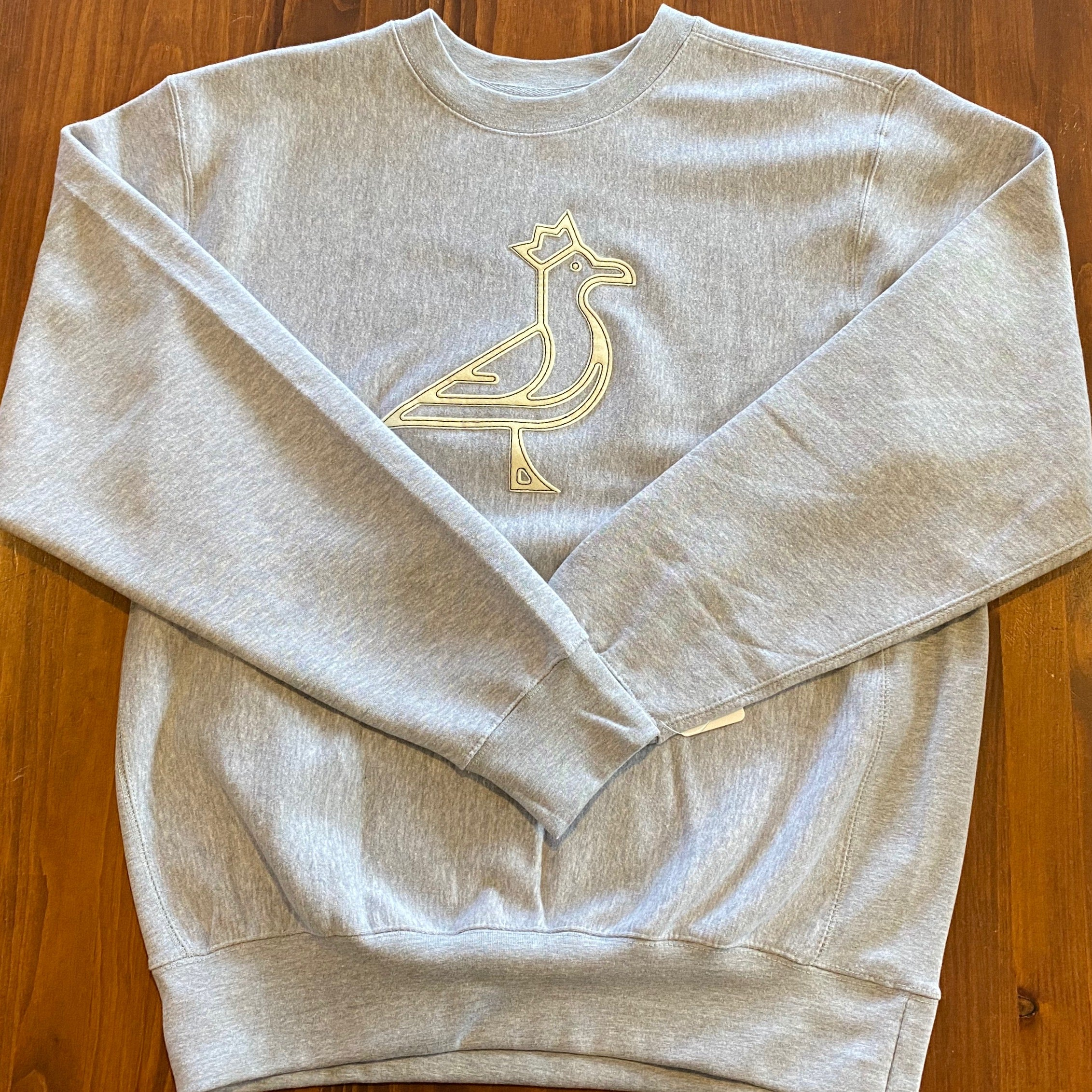 King Seve Heather Grey Crew Neck - Felt Applique Logo