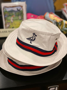 King Seve White w/ Blue & Red Ribbon 1950's Style Bucket