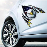 Flying Large Eagle USA Flag Auto Decal - Veteran Merchandise