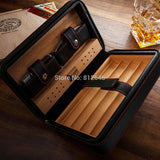 Cigar Aficionados Spanish Cedar Leather Travel Case Humidor with Humidifier