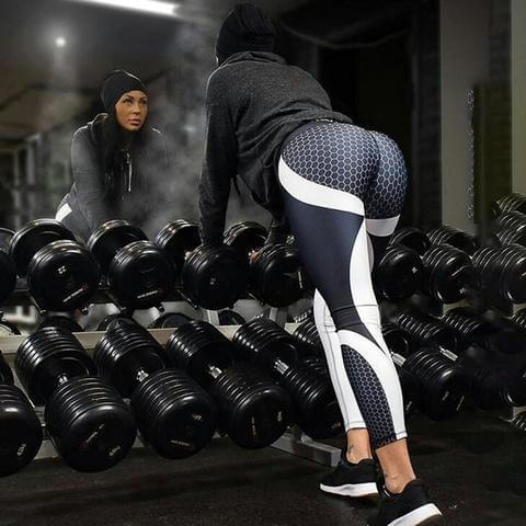 3D Printed honeycomb Print Skinny Fit Workout Leggings - Veteran Merchandise