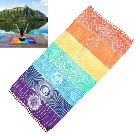 Thin 7 Chakra Rainbow Yoga Beach Towel Mat