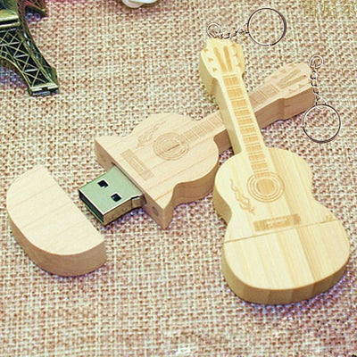 32GB Wooden Crafted Guitar USB Drive With Gift Wooden Box