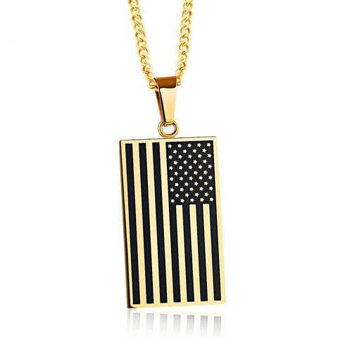 American Flag Engraved Gold Pendant Necklace - Veteran Merchandise