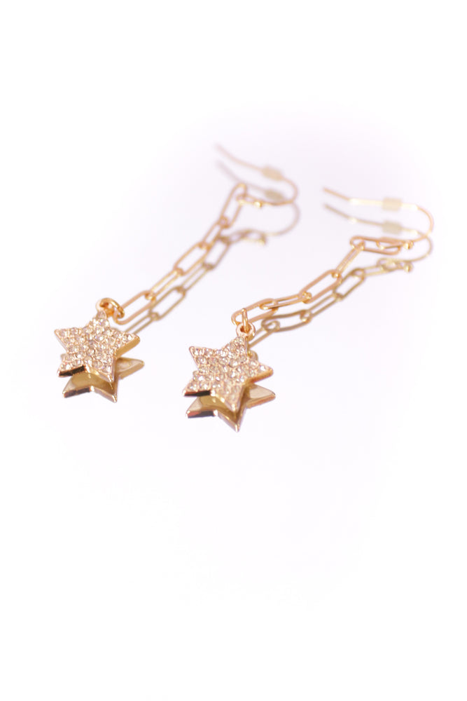 Gold Star chain Earrings