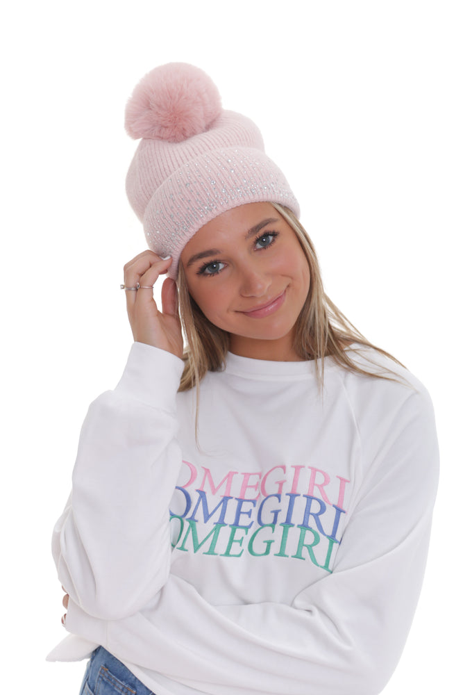 Powder Pink Shine Beanie