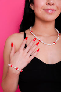 Red Mushroom Pearl Necklace