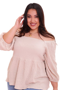 Selena Cream Babydoll Top (Curve Available)