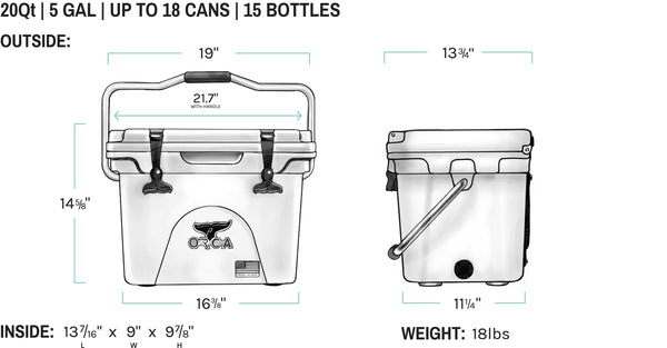 ORCA 20 quart cooler dimensions