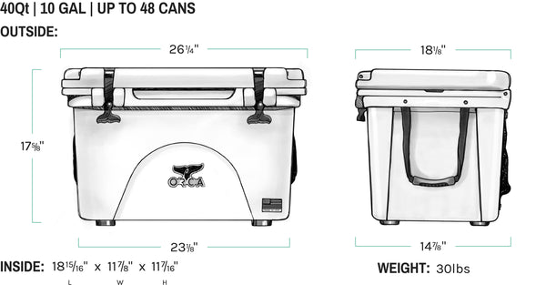 Black ORCA Cooler 40 quart dimensions