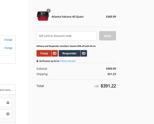 Image of discount code example, cooler with a discount box and apply button.