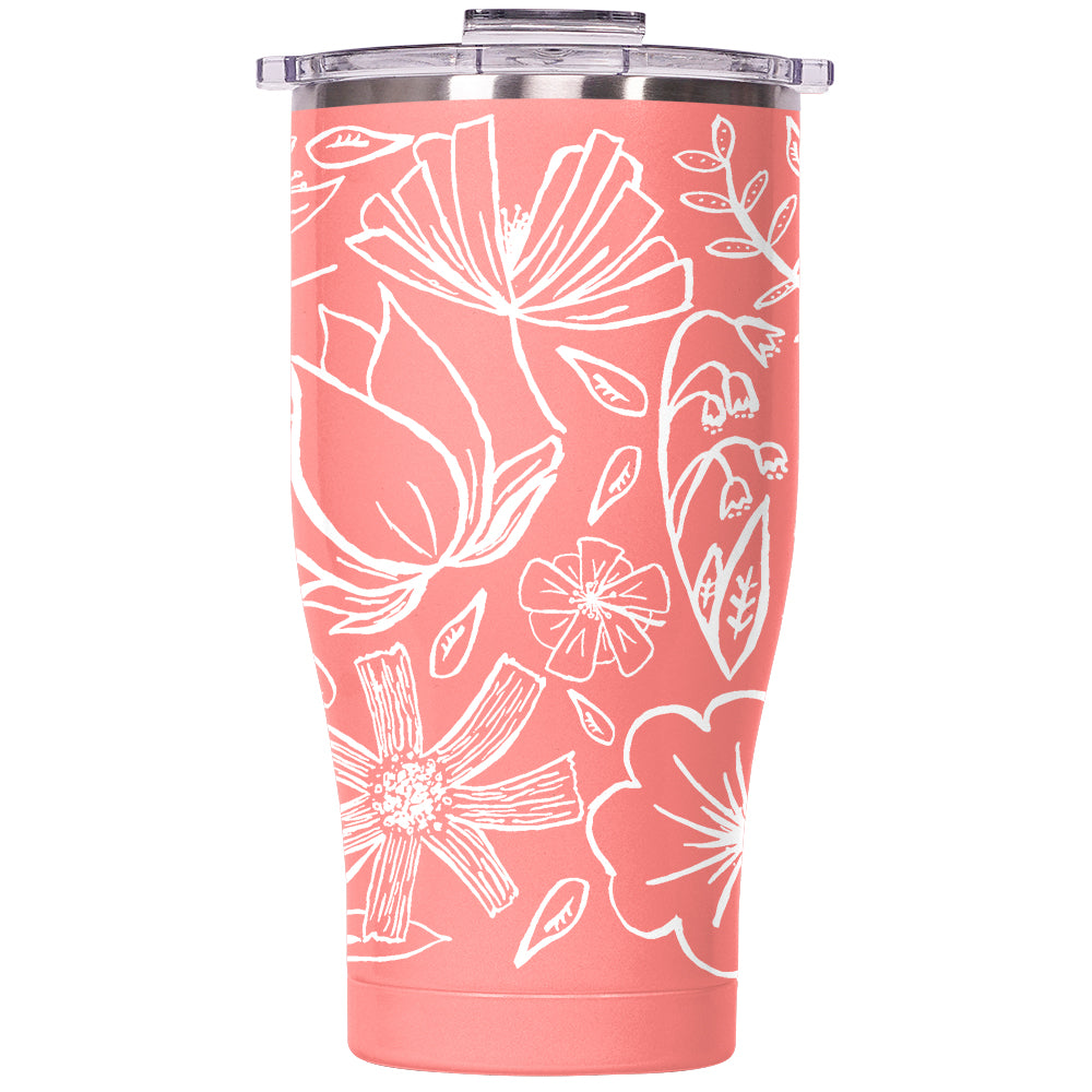 Floral Sketch 27oz Chaser Coral/Clear