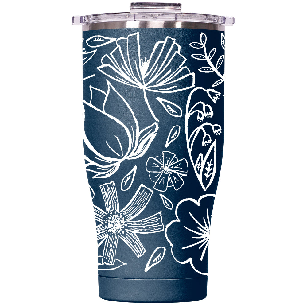 Floral Sketch 27oz Chaser Navy/Clear