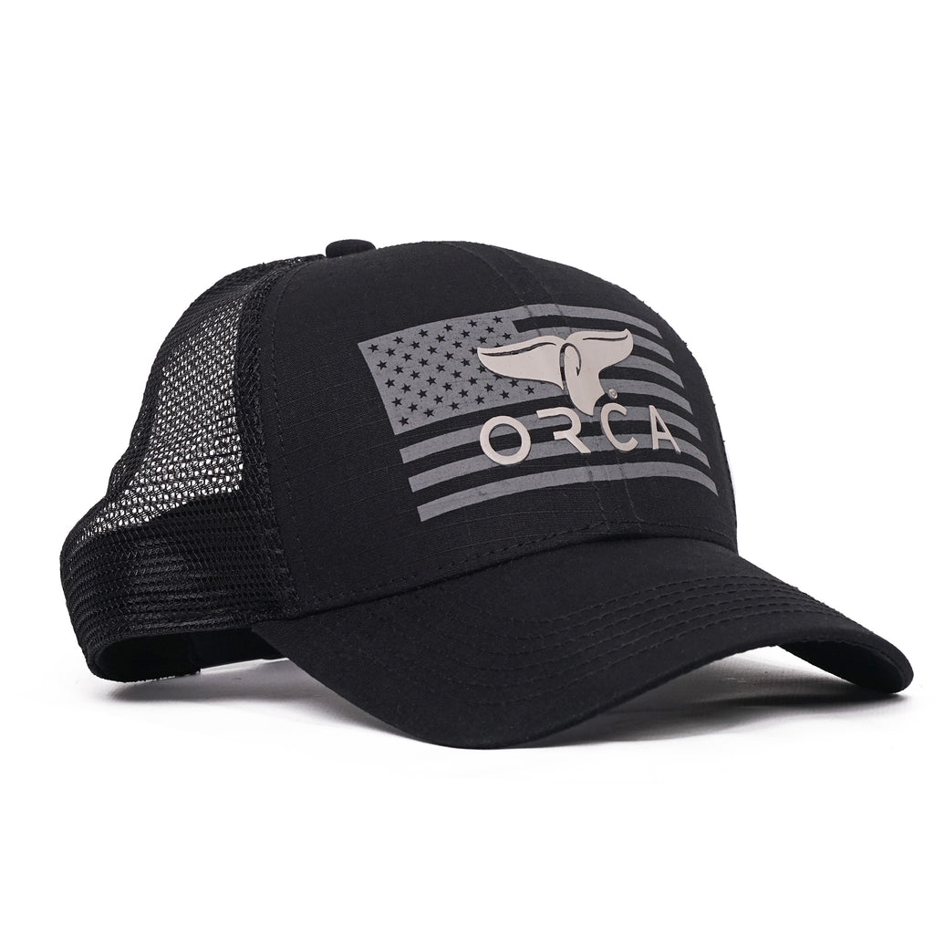 Flag Logo Trucker Black Hat - ORCA