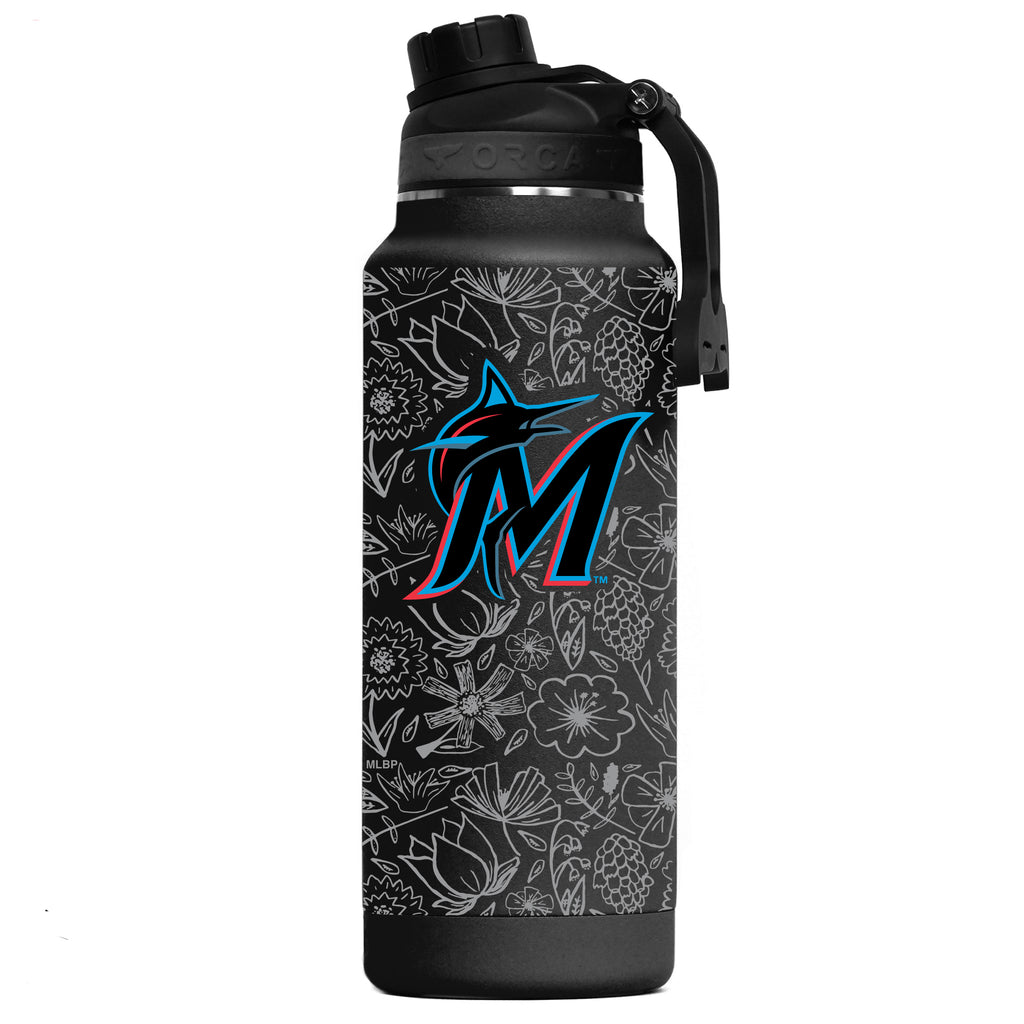 Miami Marlins Floral Sketch Hydra 34oz - ORCA