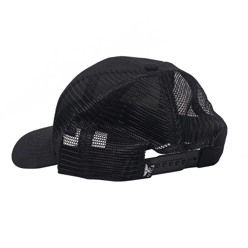 Small Side Logo Low Profile Trucker Black Hat - ORCA