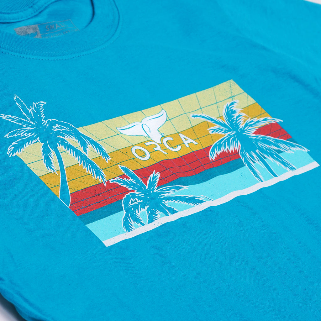80's Palm Tropical Blue Short Sleeve - ORCA