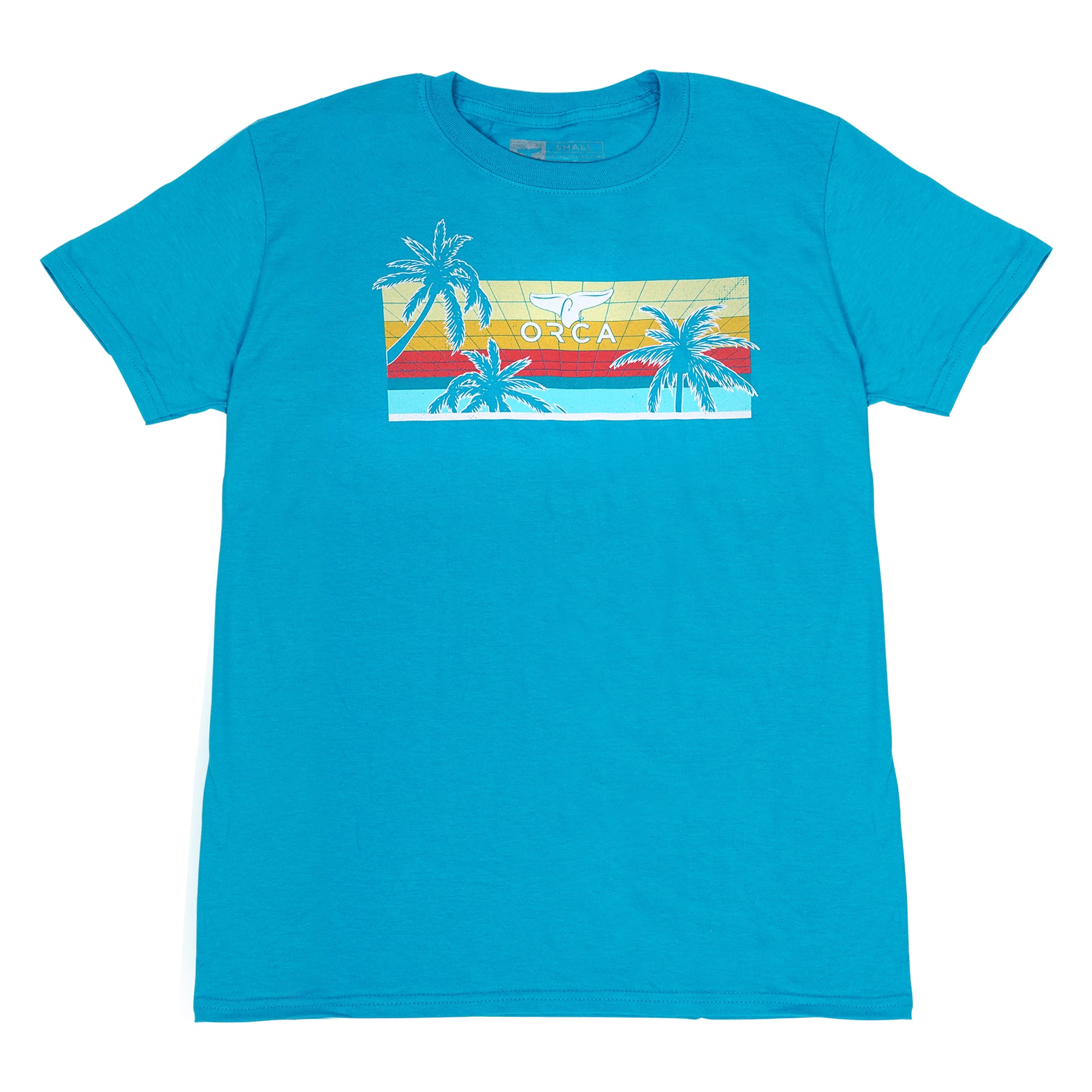 80's Palm Tropical Blue Short Sleeve