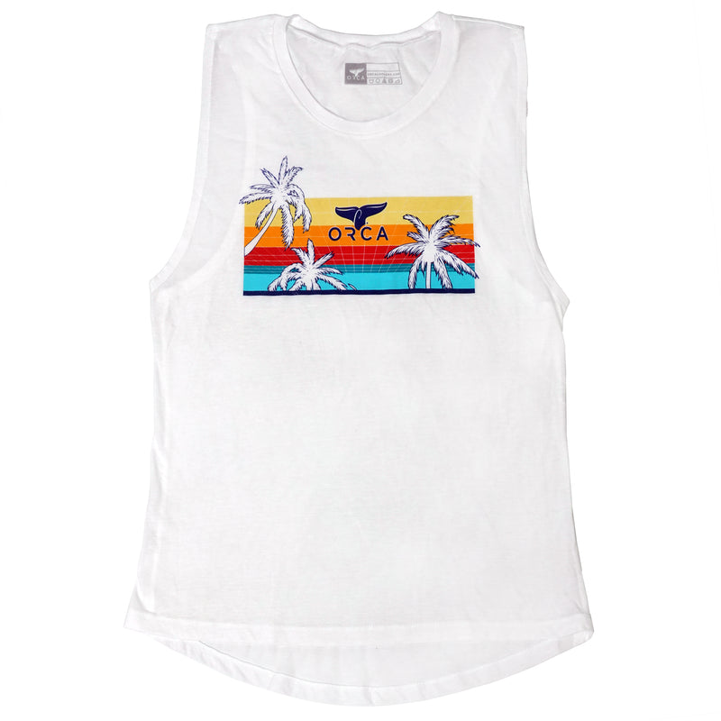 80's Palm White Muscle Tank - ORCA