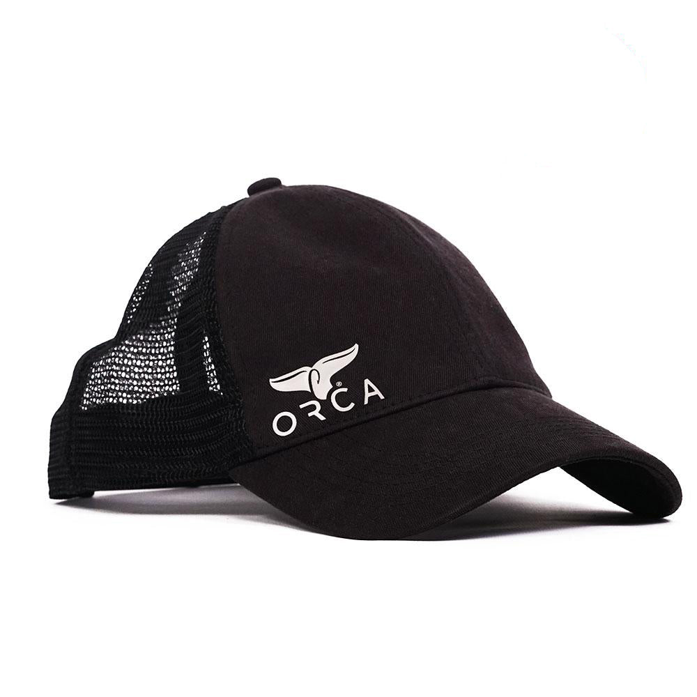 Small Side Logo Low Profile Trucker Black Hat