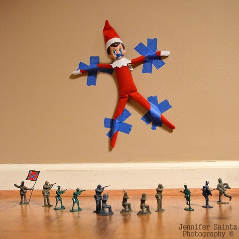 Elf on the shelf trapped