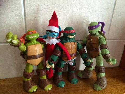 Elf on the Shelf with Ninja Turtles