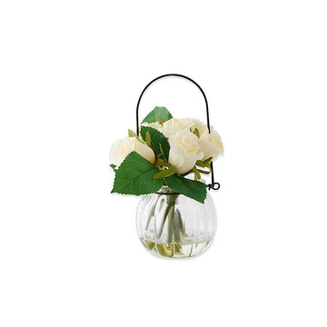 White Roses in Hanging Glass Vase