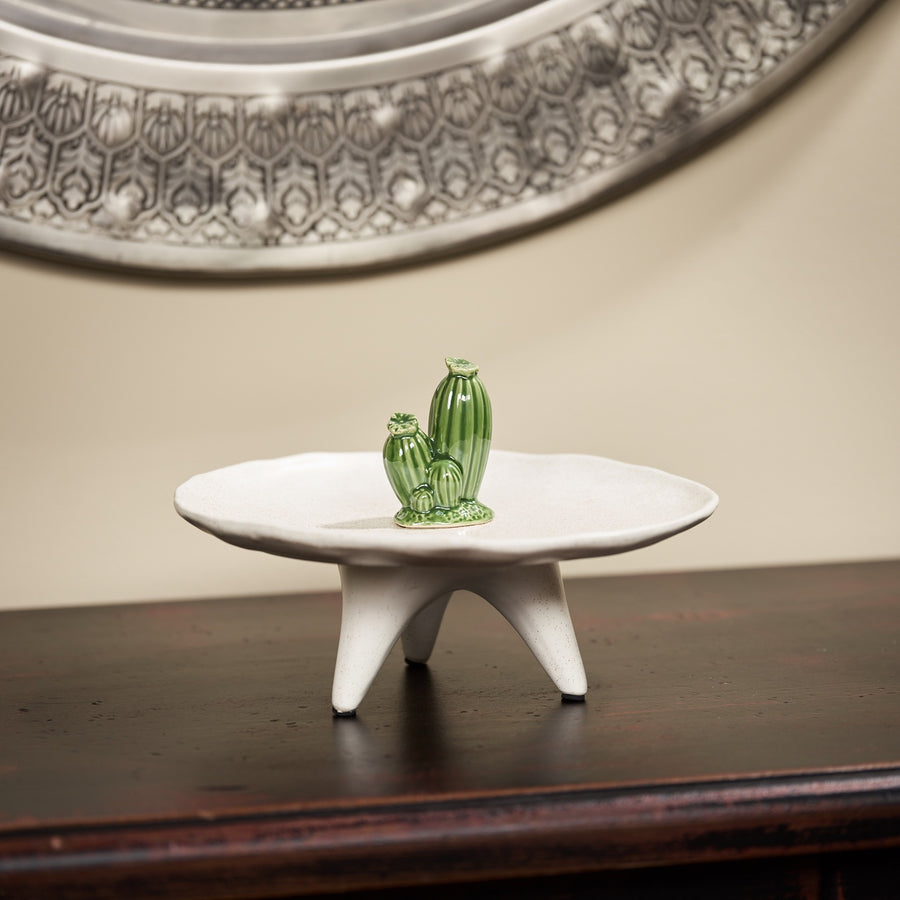 Round Ceramic Platter with Cactus Detail
