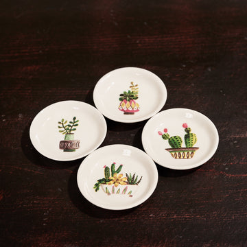 Assorted Cactus Round Mini Dishes, Set/4