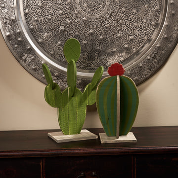 Painted Wooden Cactus, Set/2
