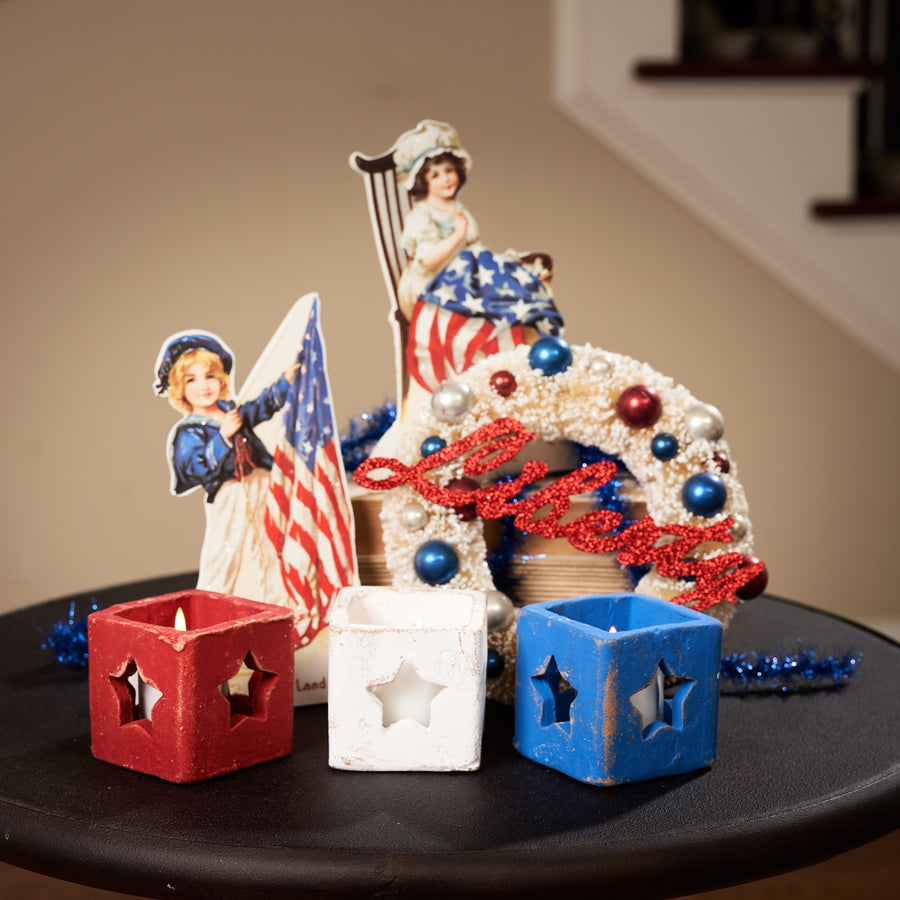 Red, White & Blue Star Cut Out Votive Holders, Set/3