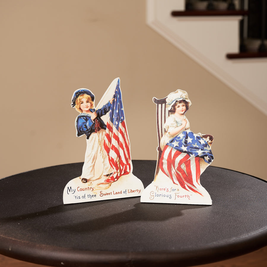 Americana Boy & Girl Vintage Postcard Dummy Boards, Set/2