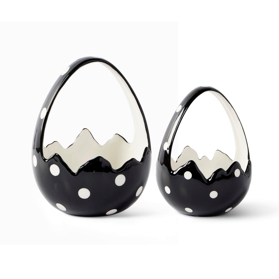 Black & White Polka Dotted Egg Baskets, Set/2